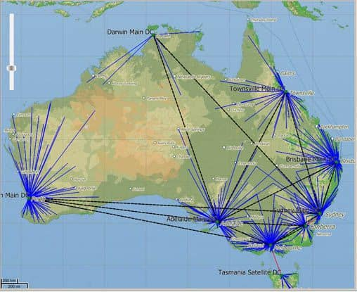 Australian Map Showing Distribution Nodes Compressed